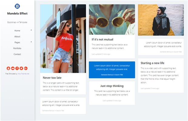 Mandela Effect - Free HTML Bootstrap template with fixed sidebar ...